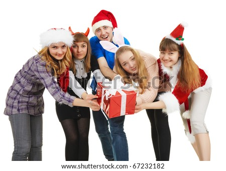 Cheerful people hand over one general gift isolated on a white background - stock photo