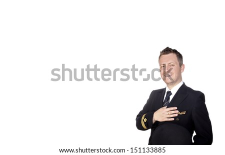 Cheerful pilot in uniform on white background