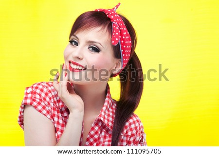 Cheerful pin up girl - retro style portrait - stock photo