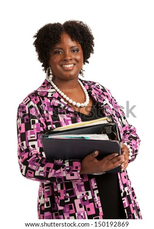 Cheerful Plus Size Businesswoman Holding Binders Standing Isolated on White Background - stock photo
