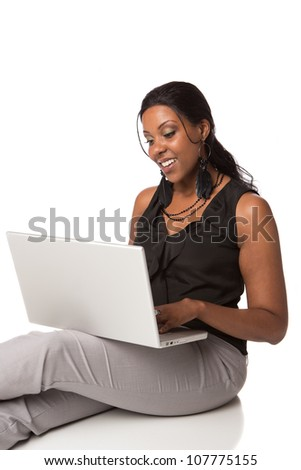 Cheerful Plus Size Businesswoman Working on Laptop Computer Sitting Isolated on White Background