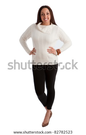 Cheerful Plus Size Fashion Model Standing on white background - stock photo