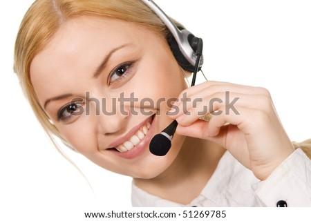 Cheerful professional call center operator, white background - stock photo