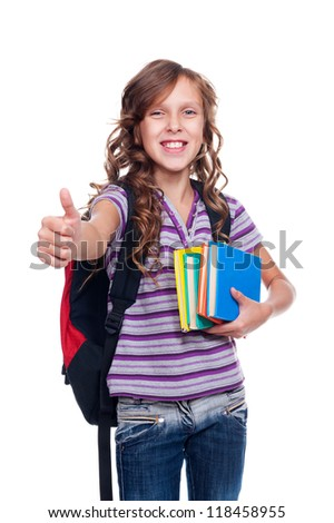 cheerful pupil holding books and showing thumbs up. isolated on white background - stock photo