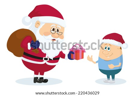 Cheerful Santa Claus with a bag of gifts gives a little boy gift box, Christmas holiday illustration, funny cartoon characters isolated on white background. - stock photo