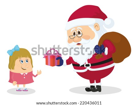 Cheerful Santa Claus with a bag of gifts gives a little girl gift box, Christmas holiday illustration, funny cartoon characters isolated on white background. - stock photo