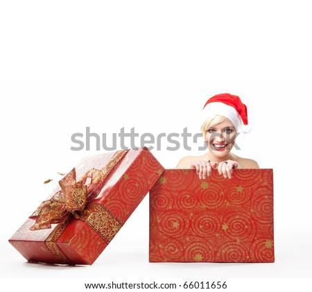 Cheerful santa woman in a christmas box - stock photo