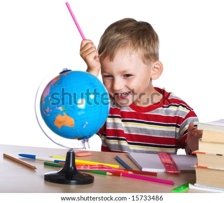 Cheerful schoolboy - stock photo