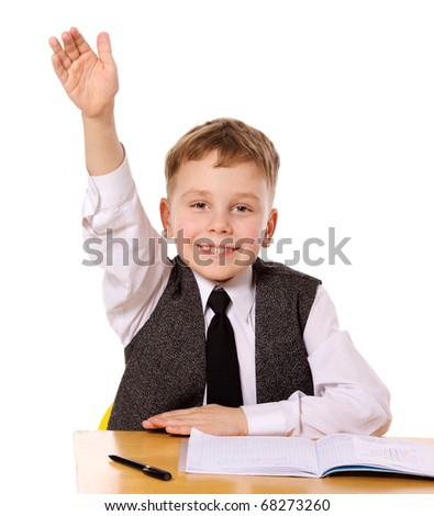 Cheerful Schoolboy ready to answer question isolated - stock photo