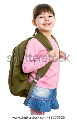 Cheerful schoolgirl with backpack