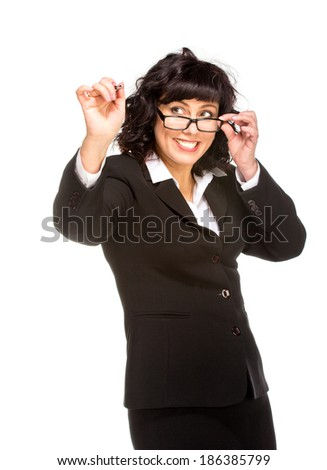 Cheerful senior business woman, isolated on white