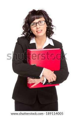Cheerful senior business woman with folder, isolated on white