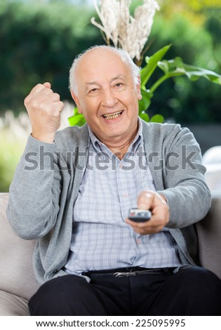 Cheerful senior man clenching fist while using remote control on couch at nursing home porch - stock photo