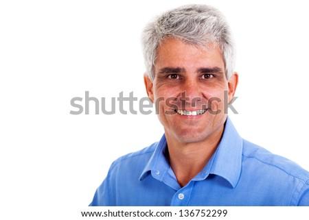 cheerful senior man on white background - stock photo