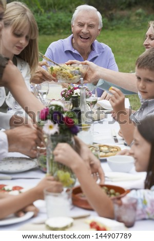 Cheerful senior man with family dining together in garden - stock photo