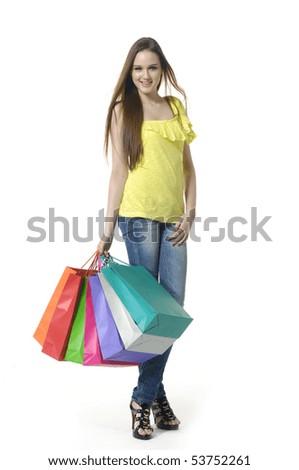 Cheerful shopping girl - stock photo
