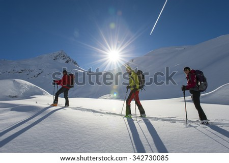 cheerful ski touring group for the summit - stock photo