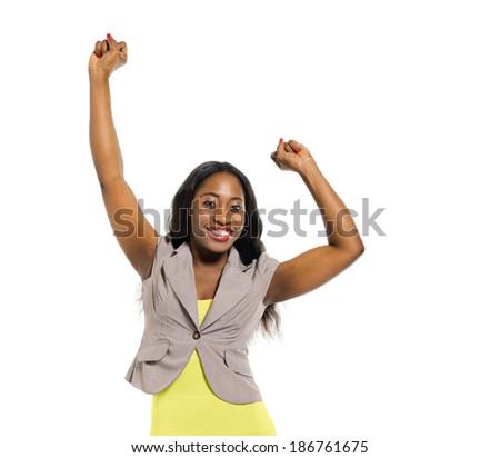 Cheerful Smart Casual Woman Celebrating - stock photo