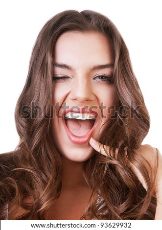 cheerful smiling cute woman with opened mouth on white background - stock photo