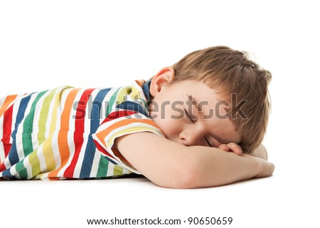 cheerful smiling little boy sleeps. Isolated on white background.  shooting in the studio - stock photo