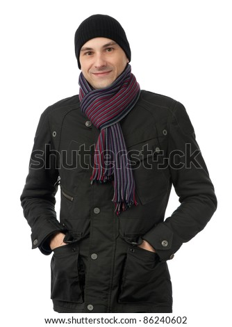 Cheerful smiling man in winter clothes isolated on white background - stock photo