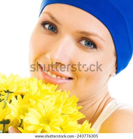 Cheerful smiling woman with bouquet of yellow flowers, isolated over white background - stock photo