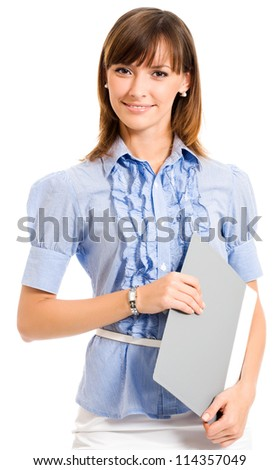 Cheerful smiling young business woman with grey folder, isolated over white background - stock photo