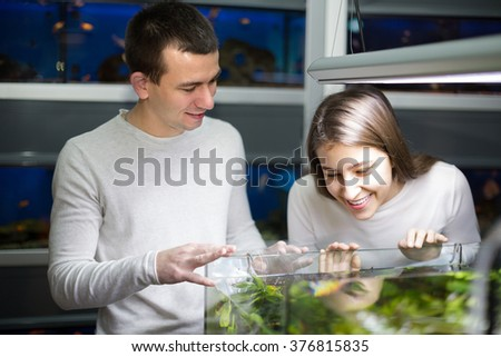 Cheerful smiling young couple watching fish in aquarium at petshop . Focus on guy - stock photo