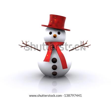 Cheerful Snowman Chinese - stock photo