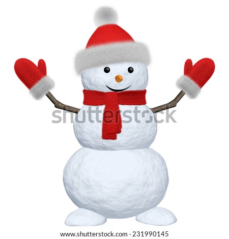 Cheerful snowman with red fluffy hat, scarf and mittens 3d illustration - stock photo