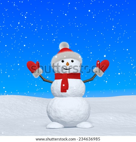 Cheerful snowman with red fluffy hat, scarf and mittens on snow looking up under blue sky and snowfall, 3d illustration - stock photo