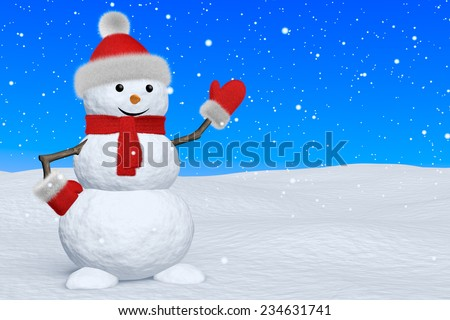 Cheerful snowman with red fluffy hat, scarf and mittens on snow under blue sky and snowfall pointing to something, 3d illustration with copy-space - stock photo