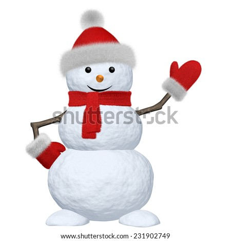 Cheerful snowman with red fluffy hat, scarf and mittens pointing to something 3d illustration - stock photo