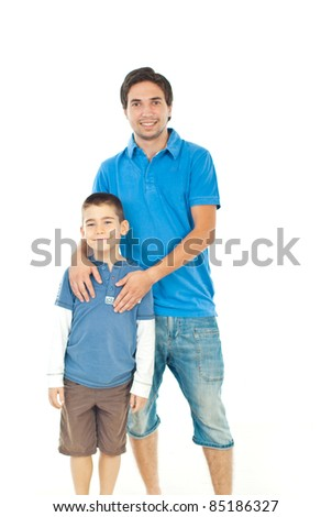 Cheerful son with his father standing together isolated on white background - stock photo
