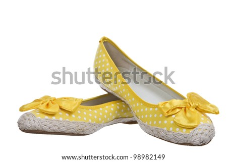 Cheerful summer shoes, isolated on white background. - stock photo