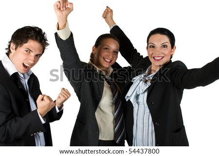 Cheerful team with victory in business - stock photo