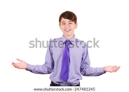 Cheerful teen boy in shirt and tie gesturing welcome sign and smiling. You are welcome!  Isolated on white background - stock photo