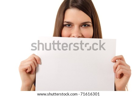 cheerful teen girl holding blank white paper closeup isolated on white background