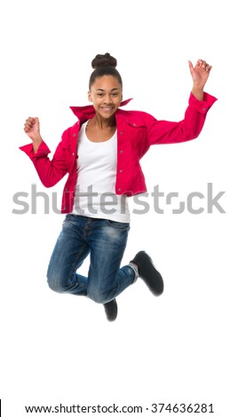cheerful teenage african girl in red jacket jumping isolated on white background