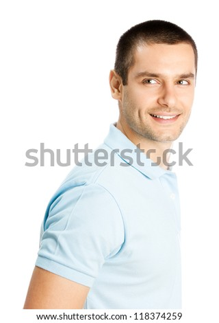 Cheerful thinking young man, isolated over white background - stock photo