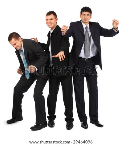 Cheerful three young dancing businessmen