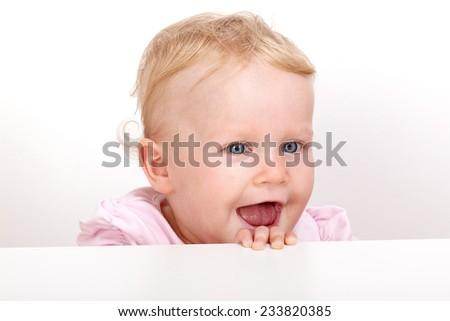 Cheerful toddler portrait - stock photo