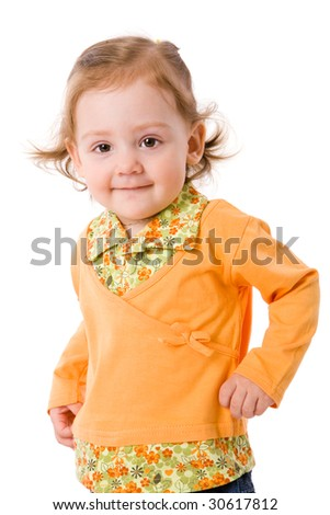 Cheerful two years girl staring at you isolated on white