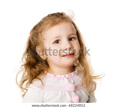 Cheerful two years girl staring up dreaming isolated on white