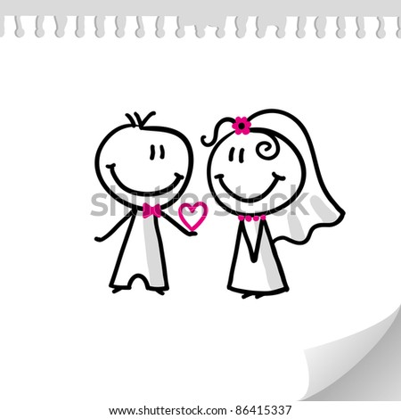 cheerful wedding couple on realistic paper sheet - stock photo