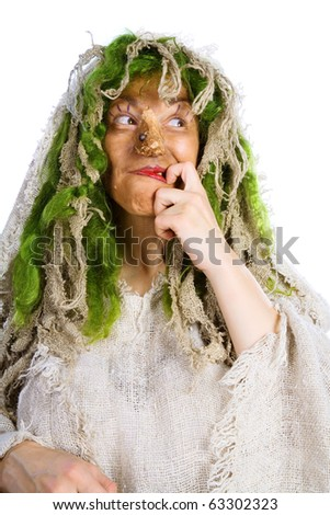 Cheerful witch on a white background - stock photo