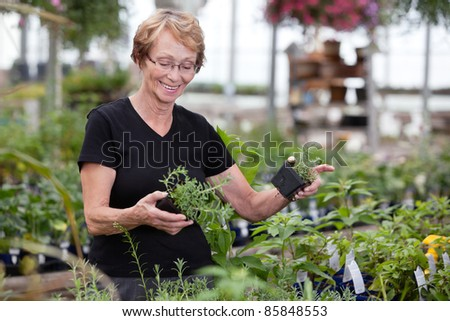 Cheerful woman holding potted plants - stock photo