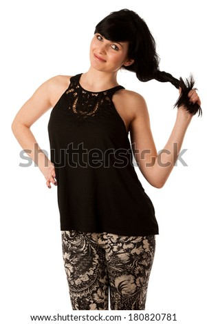 Cheerful woman in black tshirt isolated over white background
