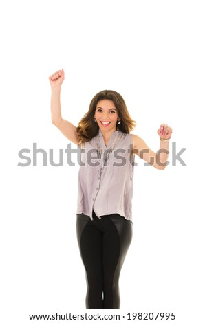 cheerful woman on a white background - stock photo