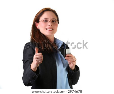 cheerful woman ready for shopping with her credit card
